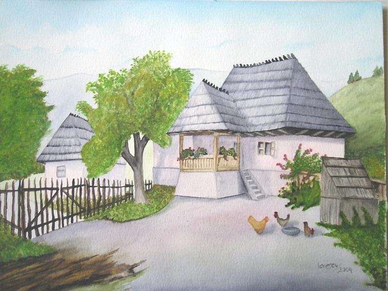 Bauernhaus-Aquarell