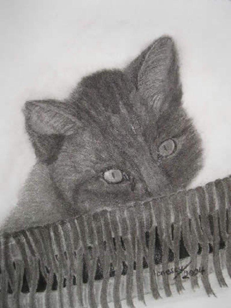 Katze-Kohlezeichnung