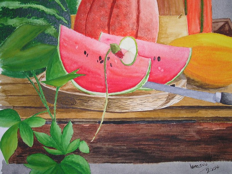 Melonen-Aquarell