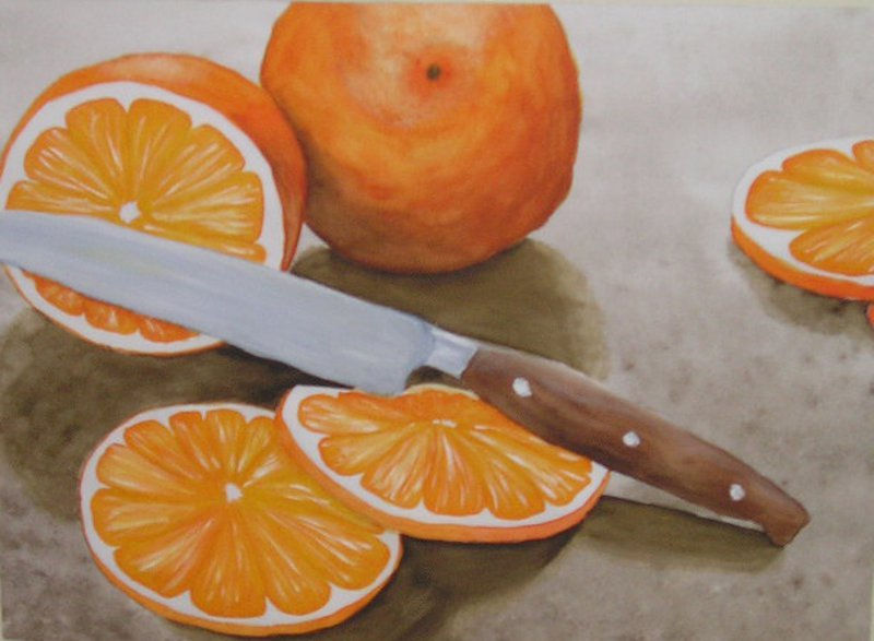 Orangen-Aquarell