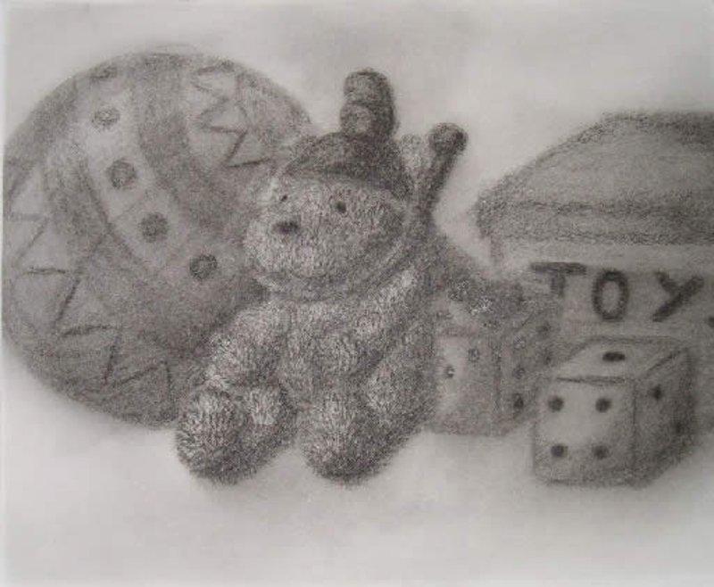 Spielsachen-Kohlezeichnung