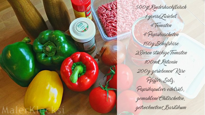 gefüllte Paprika -Zutaten-