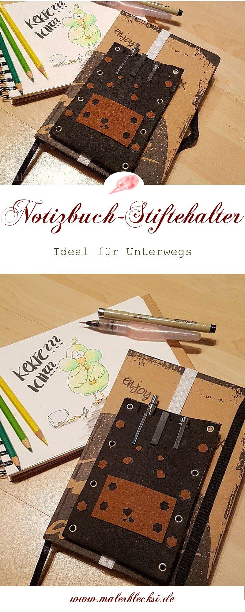 Praktisch für Unterwegs ein Stiftehalter für Notiz- oder Skizzenbuch