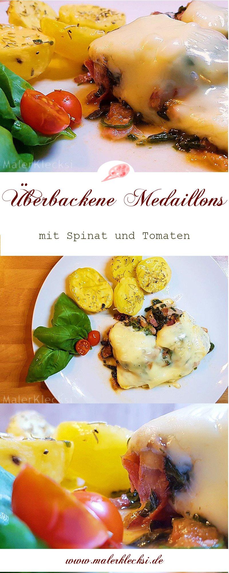 Medaillons mit Spinat und Tomaten überbacken