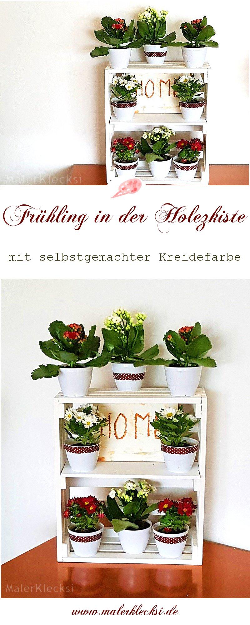 Frühlingsblumen in der Holzkiste mit selbstgemachter Kreidefarbe