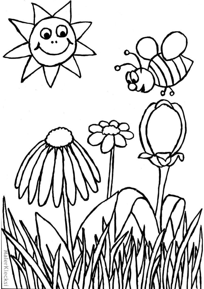 Ausmalbild für Kinder - Biene - MalerKlecksi