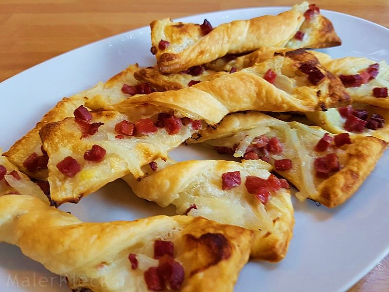 Flammkuchen-Twister, das ideale Fingerfood