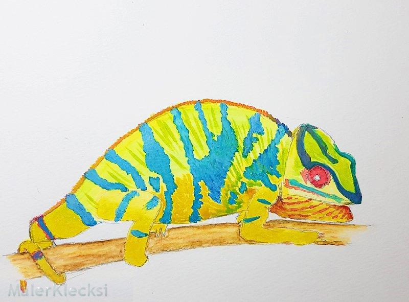 Chamaeleon mit Aquarellfarbe