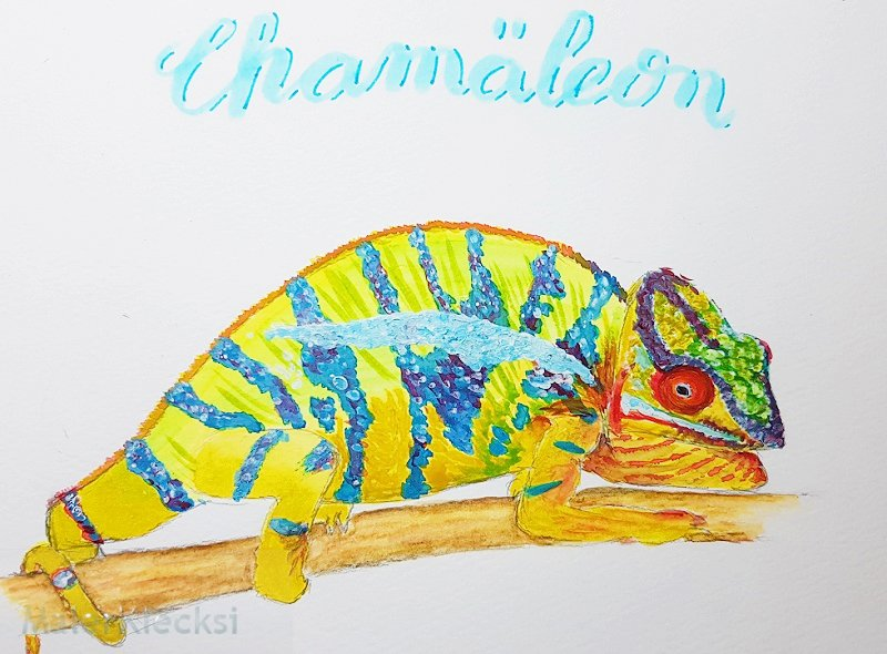 Chamaeleon in Aquarell fuer das Tier-ABC