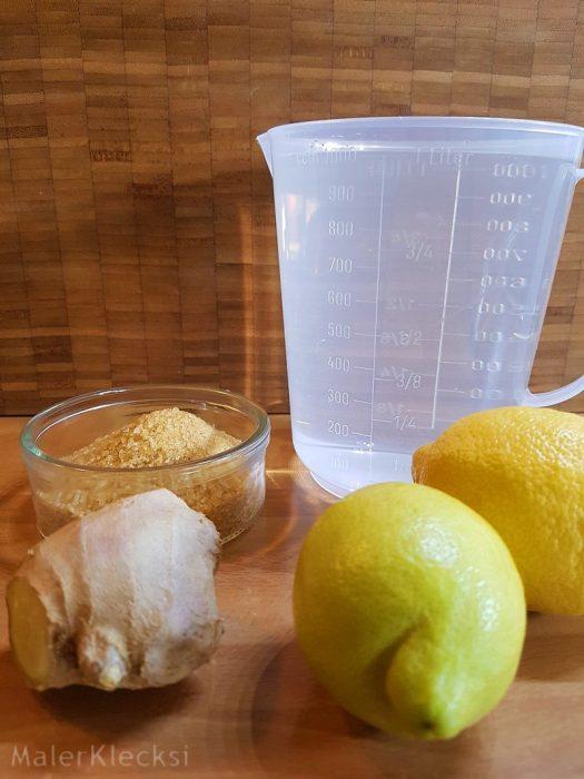 Zutaten für die Ingwer-Zitronen-Limonade