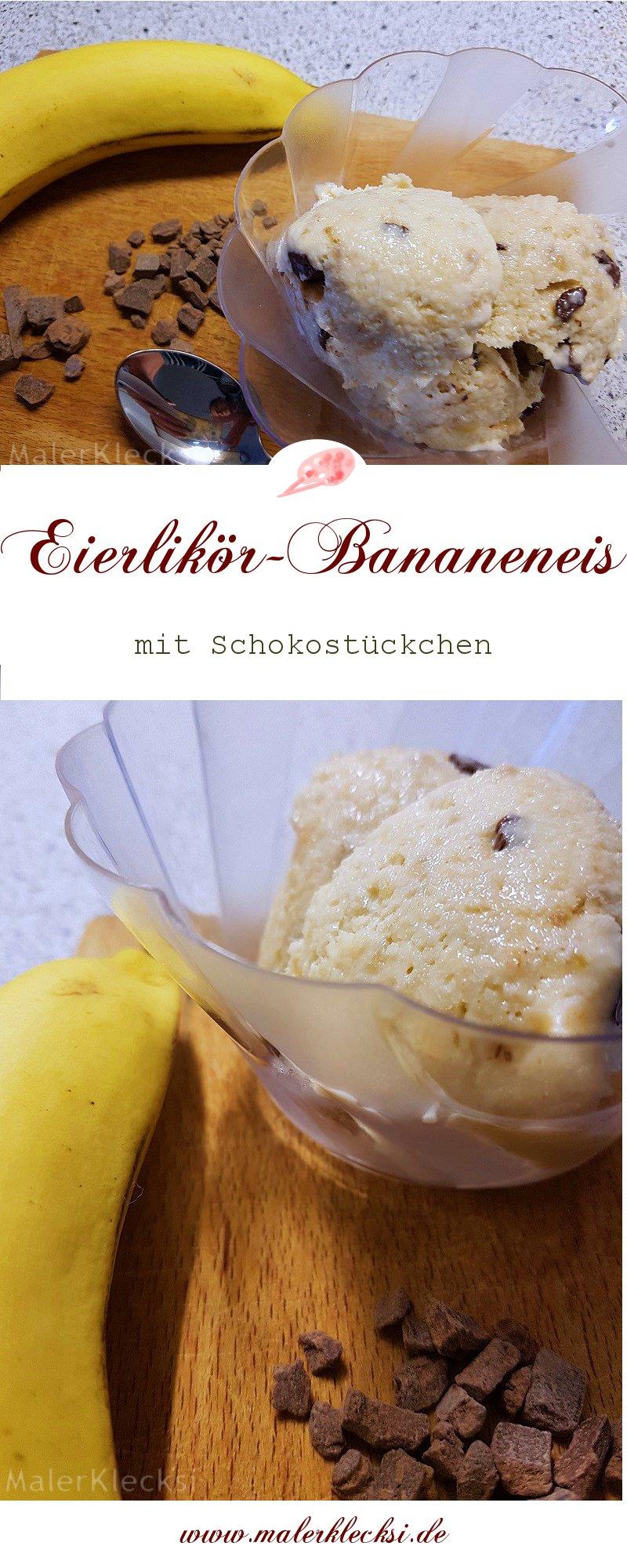 Leckeres Eierlikör-Bananeneis mit Schokoladenstückchen, ohne Eismaschine