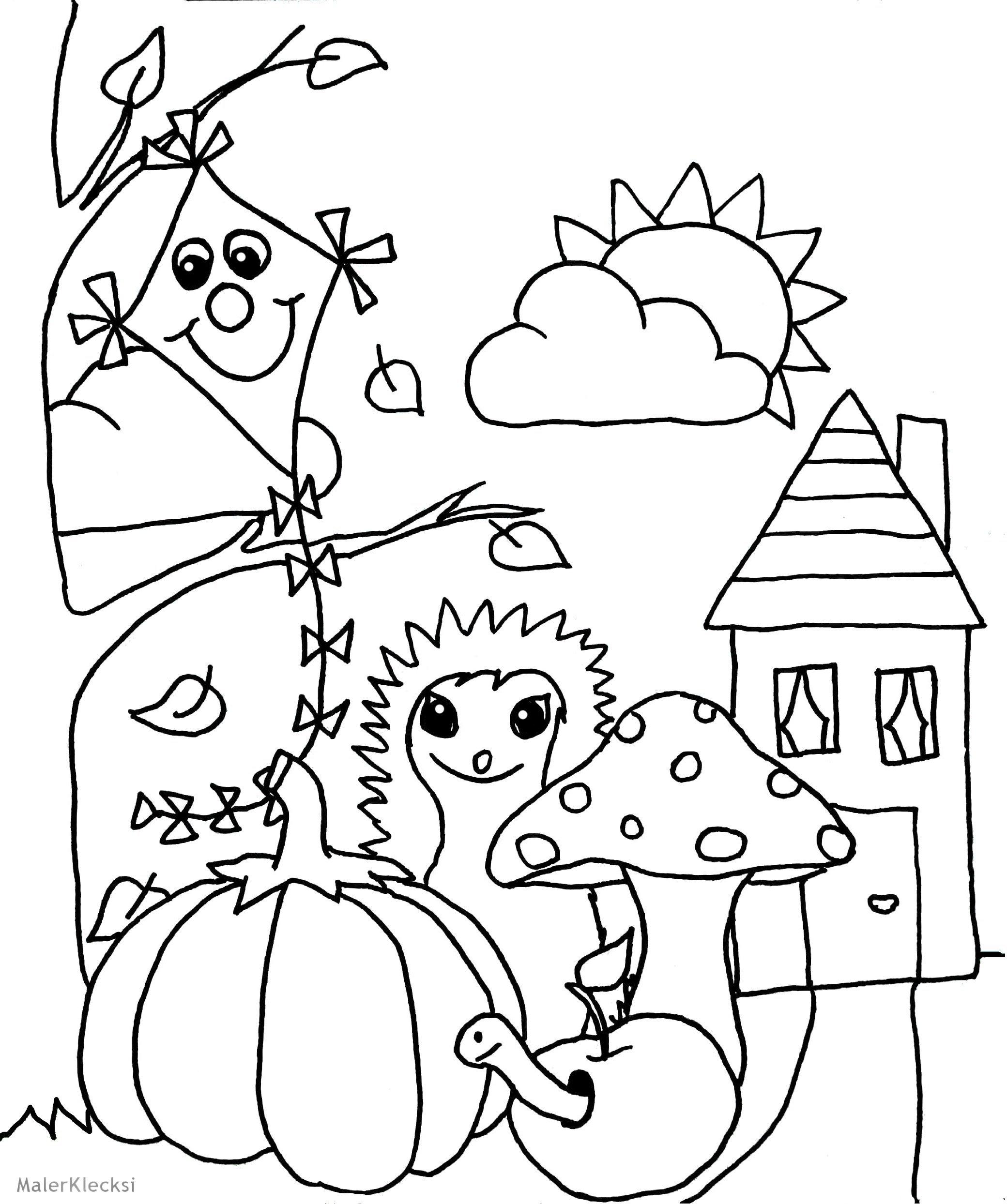 Ausmalbild für Kinder - Herbst - MalerKlecksi