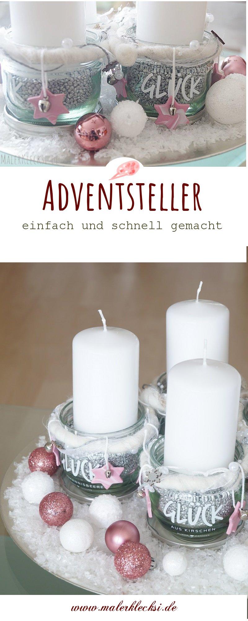 Adventsteller mit Marmeladengläsern und Fimo-Sternen. DIY zu Weihnachten, DIY Geschenkidee,