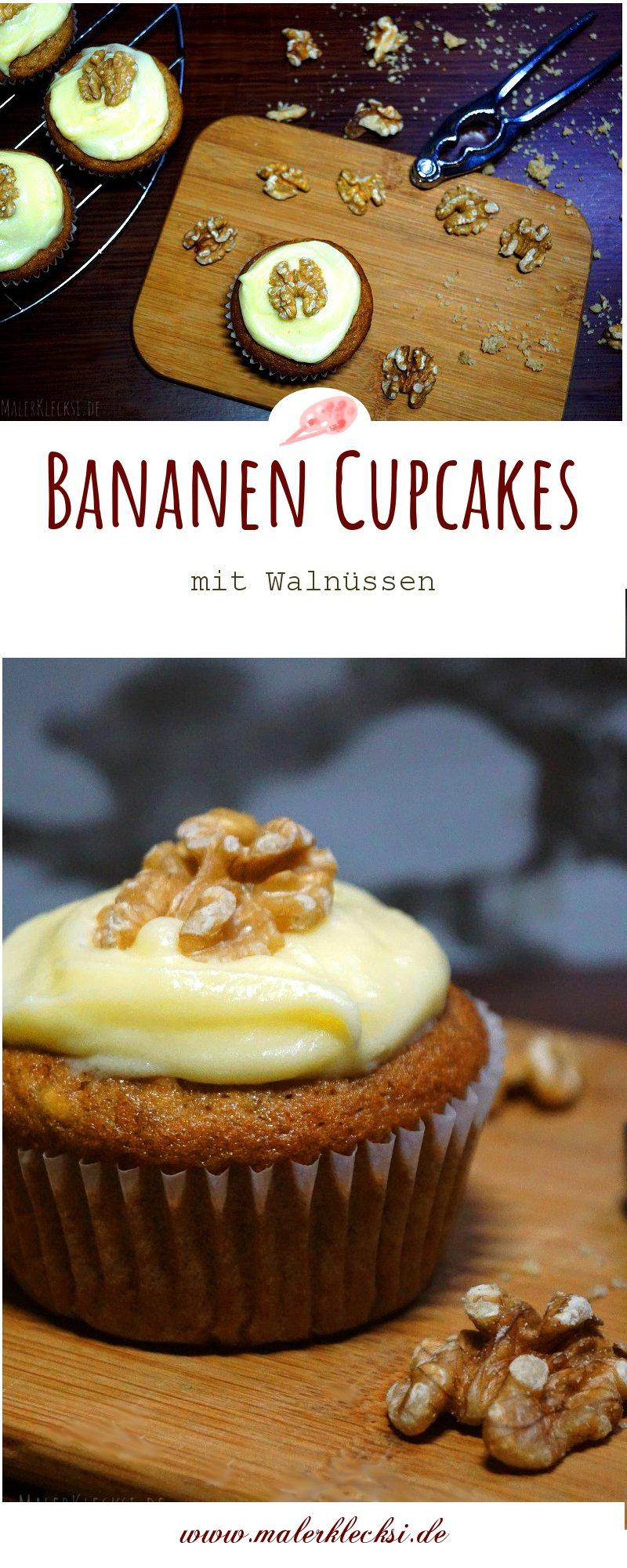 Backen ganz leicht. Bananen Cupcakes mit Walnüssen.