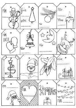 Blogparade - Illustrierte Weihnachtskarten und Geschenkanhänger - Freebies. DIY Geschenkanhänger zum kostenlosen Download.