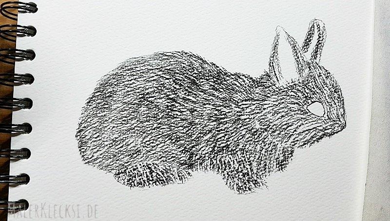 Hobbymaler Mitmach-Aktion das Tier-ABC. H- Hase ist dran. Kohlezeichnung. Für jeden zum Mitmachen.