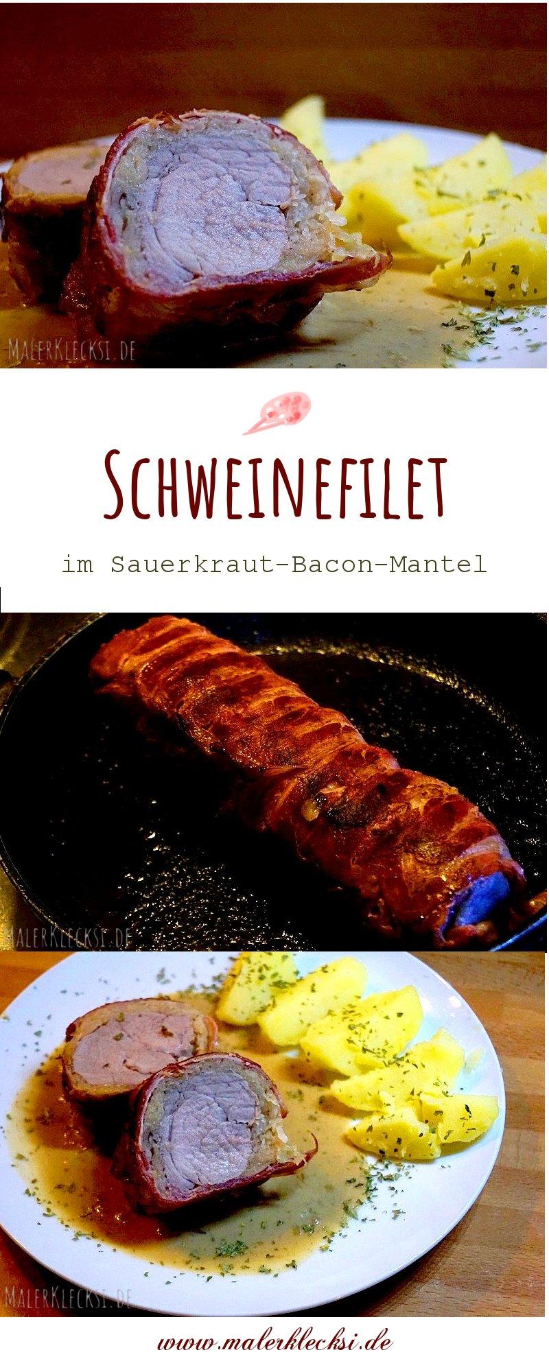 Resteverwertung, leckeres Rezept für Schweinefilet im Sauerkraut-Bacon-Mantel