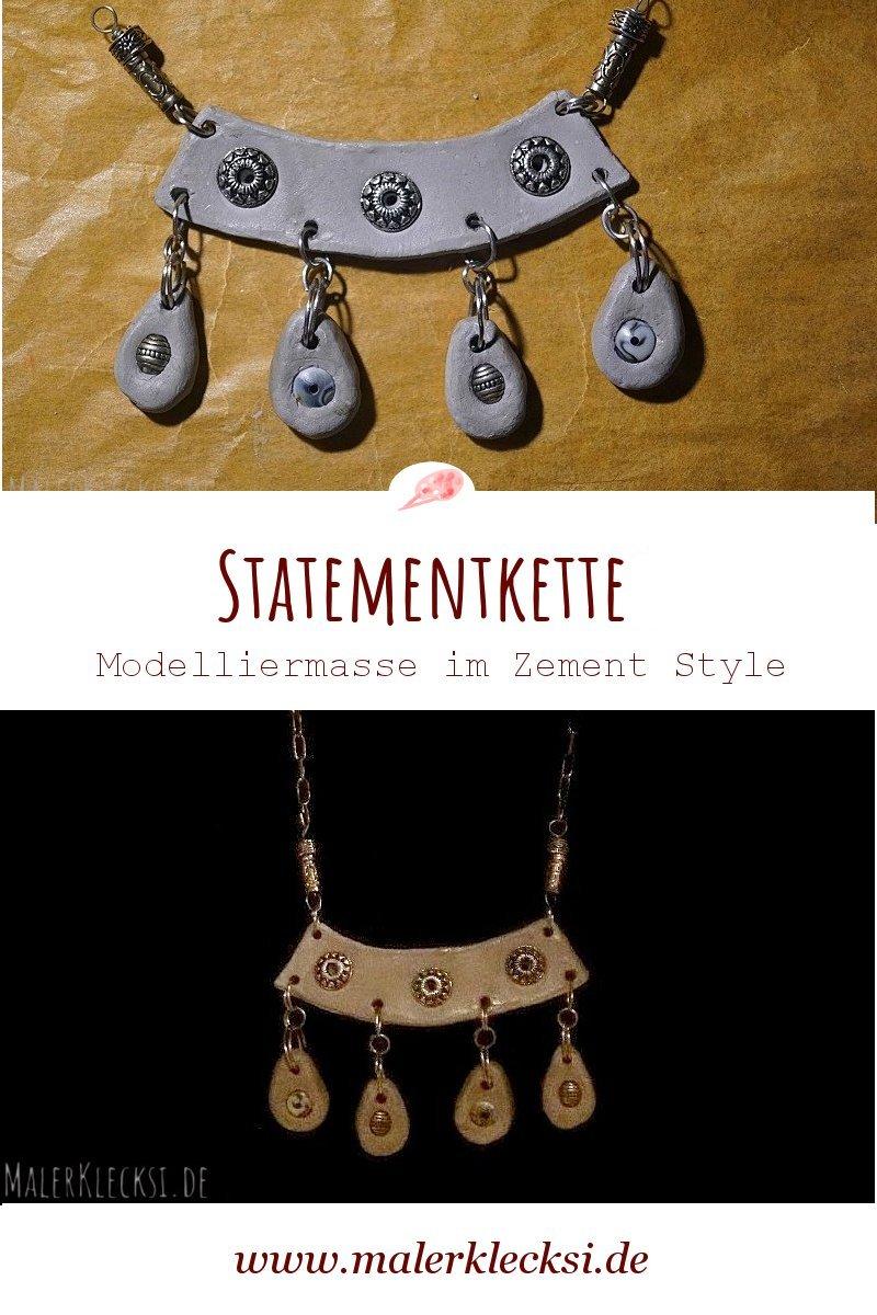 DIY, selbstgemachte Statementkette aus lufttrocknender Modelliermasse im Zement Style.